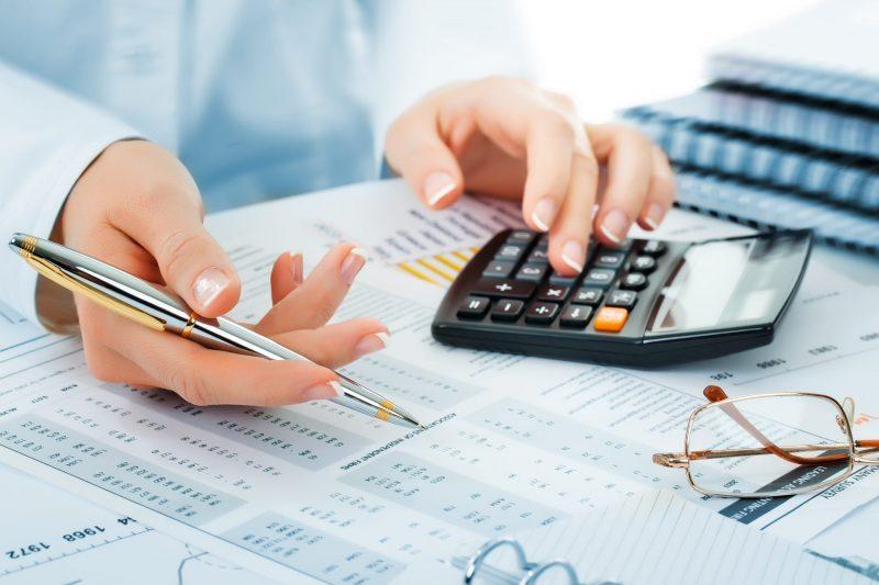Woman performing accounting